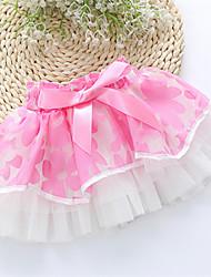 Girl's Sweet Waist Bow Decor Print Big Flower Mesh Skirt
