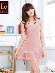 Для женщин Халат / Ультра-секси Ночное белье Однотонный Органза Розовый Женский