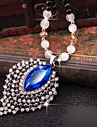 Fashion Blue Alloy Jewelry Necklace for Women, Weddding Accessories Pendant with Rhinestones for ladies