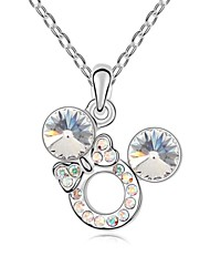Cute Mickey Short Necklace Plated with 18K True Platinum Crystal Clear Crystallized Austrian Crystal Stones