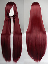 Hot Sale 40 Inches High Temperature Fiber Long Straight Wine Red Cosplay Costume Wig Side Bang
