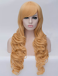 The European and American fashion inclined bang long blond hair wigs