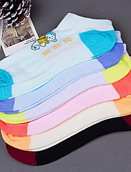 Women'S Cute Bear Pattern Candy Colors Casual Cotton Blends Thin Socks(Random Color)