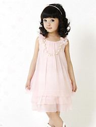 Girl's Summer Korean Chiffon Lace Sleeveless Dresses with Bowknot