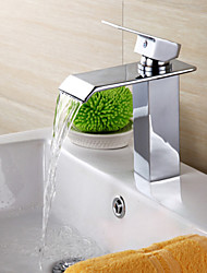 Contemporary Brass Waterfall Bathroom Faucet - Silver