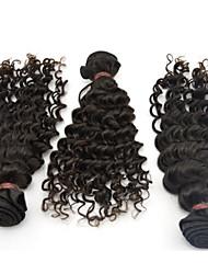 "4Pcs Lot 10""-28"" 6A Peruvian Human Hair Long Virgin Hair Wavy Hair Closure Deep Curly Natural Black Bundles"