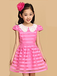 Girl's Doll Collar Stripe Short Sleeve Organza Dresses