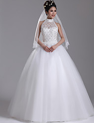 Ball Gown Wedding Dress Floor-length High Neck Tulle