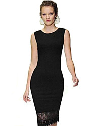 Women's Sexy Bodycon Casual Party Plus Sizes Micro Elastic Sleeveless Knee-length Dress (Lace/Knitwear)
