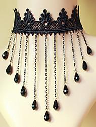 Ladies' Black Lace Tassels Crystal Necklace