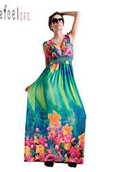 maxi vestido fino de impressão v pescoço boêmio das mulheres