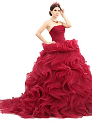 Ball Gown Strapless Sweep / Brush Train Organza Tulle Charmeuse Formal Evening Dress with Sash / Ribbon Ruffles Ruching