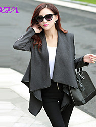 Women's Vintage/Casual/Cute/Party/Work Long Sleeve Long Trench Coat (Tweed/Fur/Polyester/Cotton Blends)