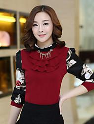Women's Slim  Casual Ruffle Splice Long Sleeve Regular Shirt