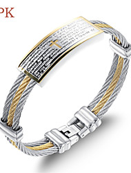 OPK®Cross Scriptures High Quality Stainless Steel Wire Drawing Plating Men 18 K Gold Bracelet