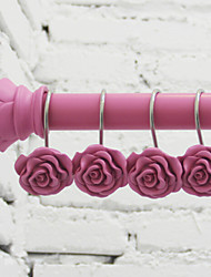 Shower Curtain Hooks,Pink Rose(12 Pack)