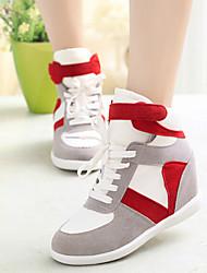 Damesschoenen - Modieuze sneakers ( Canvas/Rubber , Zwart/Grijs/Rood )met Sleehak - 6-9cm