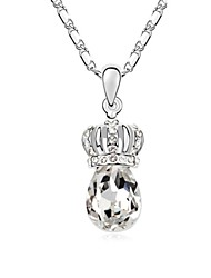 Princess' Dream Short Necklace Plated with 18K True Platinum Crystal Clear Crystallized Austrian Crystal Stones