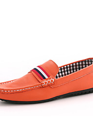 Men's Shoes Casual Faux Leather Loafers Black/White/Orange