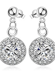 lureme® Fashion Style Silver Plated Round Shape with Zircon Stud Earrings