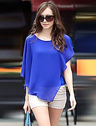 LisaWomen's Bodycon/Casual/Work Round Short Sleeve T-Shirts (Chiffon)