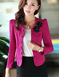 Women's Slim Breasted Shoulder Floral OL Temperament Back Bow Short Suit