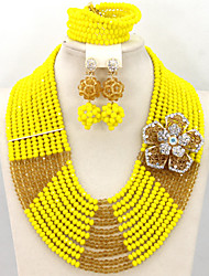 African Beads Jewelry Set for Wedding Indian Jewelry Sets Crystal Bridal Beads Set New Arrival