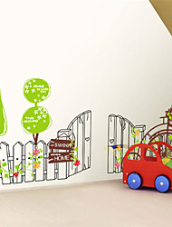 Wall Stickers Wall Decals, Green Fence Cycling PVC Wall Stickers