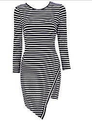 Women's Stripped Asymmetric Length Dress