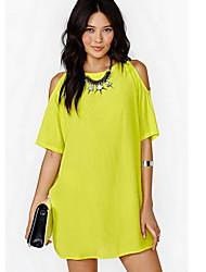Women's Casual Off-the-shoulder Short Sleeve Dresses (Chiffon)