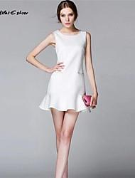 Milaieshow Women's Elegant Ruffle  Sleeveless Above Knee Dress