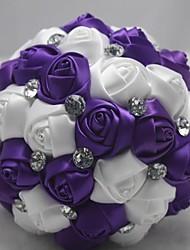 "Fleurs de mariage Rond Bouquets Mariage Polyester Satin Dentelle Perle Strass 7.09""(Env.18cm)"