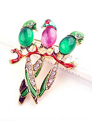 Lucky Star Women's Fashion Colorful Rhinestone Bird Brooch
