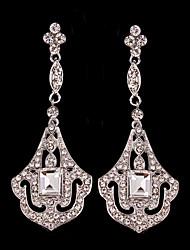 Luxurious Big Rhinestones Long Vintage Dangle Brides Bridesmaids Wedding Party Princess Leaf Earring