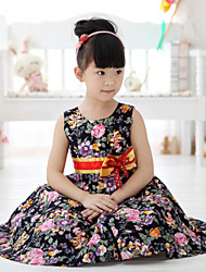 O-rnoch girl's fashion cotton Large floral bow belt Sling Princess Dresses (Cotton)