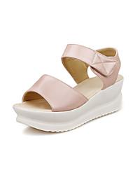 Zapatos de mujer - Tacón Cuña - Cuñas / Punta Abierta - Sandalias - Oficina y Trabajo / Vestido - Semicuero - Azul / Rosa / Blanco