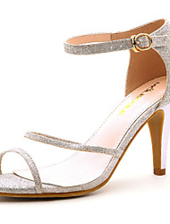Women's Shoes Leather Chunky Heel Heels/Peep Toe Sandals Casual Silver/Gold