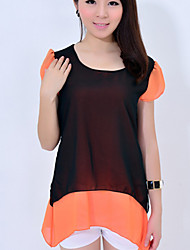 Women's Casual Micro Elastic Short Sleeve Regular T-shirt (Cotton)