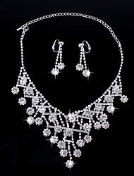 Fashion Women's Metal Rhinestone Necklace&Ring Set