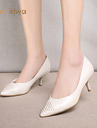 kumikiwa nouvelles chaussures de cuir véritable pour femme talon mince pompes blanches et roses rhinestoness chaussures de dame k15cn1225
