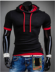 Austria Factory direct supply 2015 new false two hooded casual slim men's Short Sleeve T-Shirt