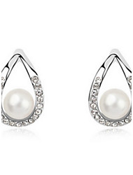 Women's Alloy Stud Earrings With Pearl/Rhinestone(More Color)
