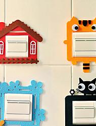 Cartoon Felt Light Switch Power Socket Sticker(Random Color, 6-Pack) 16.5*16.5*5 cm