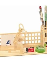 bois puzzle en trois dimensions contenant stylo balle de tennis