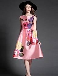 Women's Vintage Print Work Inelastic Sleeveless Above Knee Dress (Twill)