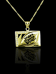 18K plaqué or véritable allah musulman pendentif zircon 3,4 * 3.4cm