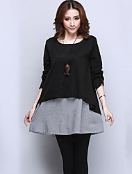 Women's Black/Gray Dress , Casual Long Sleeve