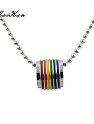 2015 new silver necklace pendant rainbow gay lesbian