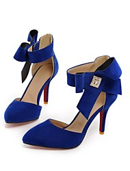 Women's Shoes Fleece Stiletto Heel Heels/Pointed Toe Pumps/Heels Dress Black/Blue/Red/Beige