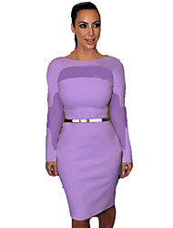 Women's Club Bodycon Dress,Color Block Knee-length Long Sleeve Red / White / Black / Purple Polyester Spring